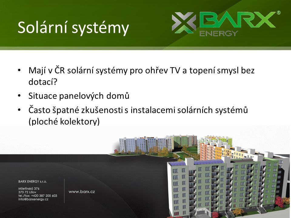 Solární systémy Mají v ČR solární systémy pro ohřev TV a topení smysl bez dotací Situace panelových domů.