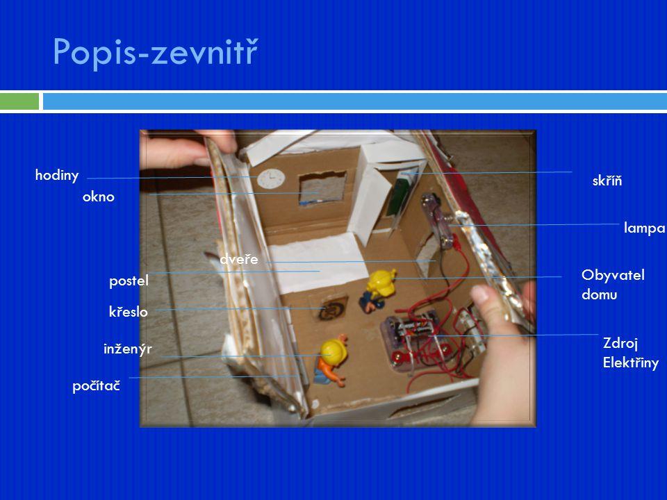 Popis-zevnitř hodiny skříň okno lampa dveře Obyvatel domu postel