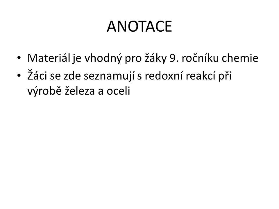 ANOTACE Materiál je vhodný pro žáky 9. ročníku chemie