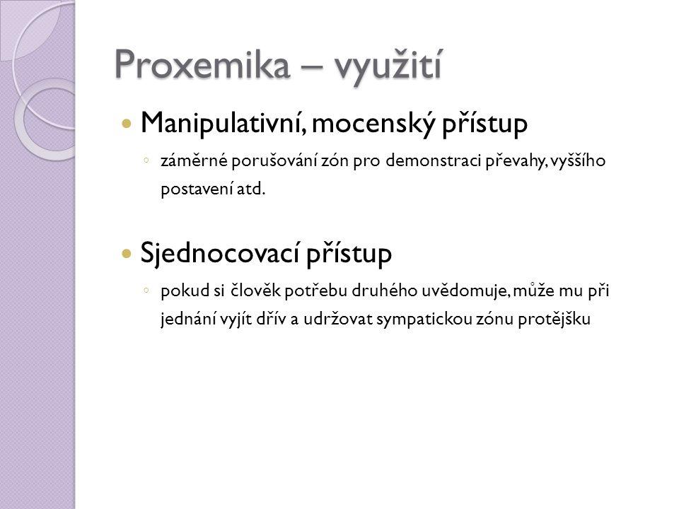 Proxemika – využití Manipulativní, mocenský přístup