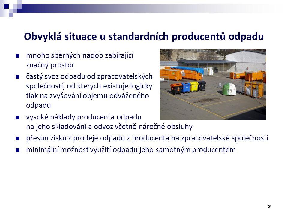 Obvyklá situace u standardních producentů odpadu