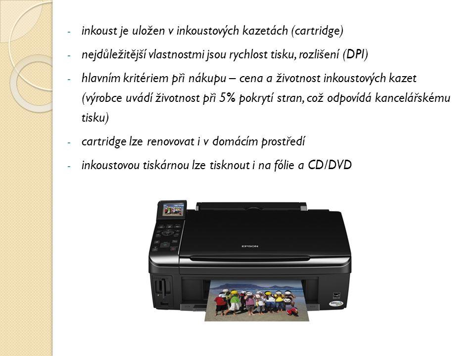 inkoust je uložen v inkoustových kazetách (cartridge)