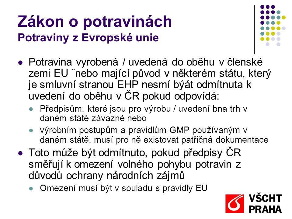 Zákon o potravinách Potraviny z Evropské unie