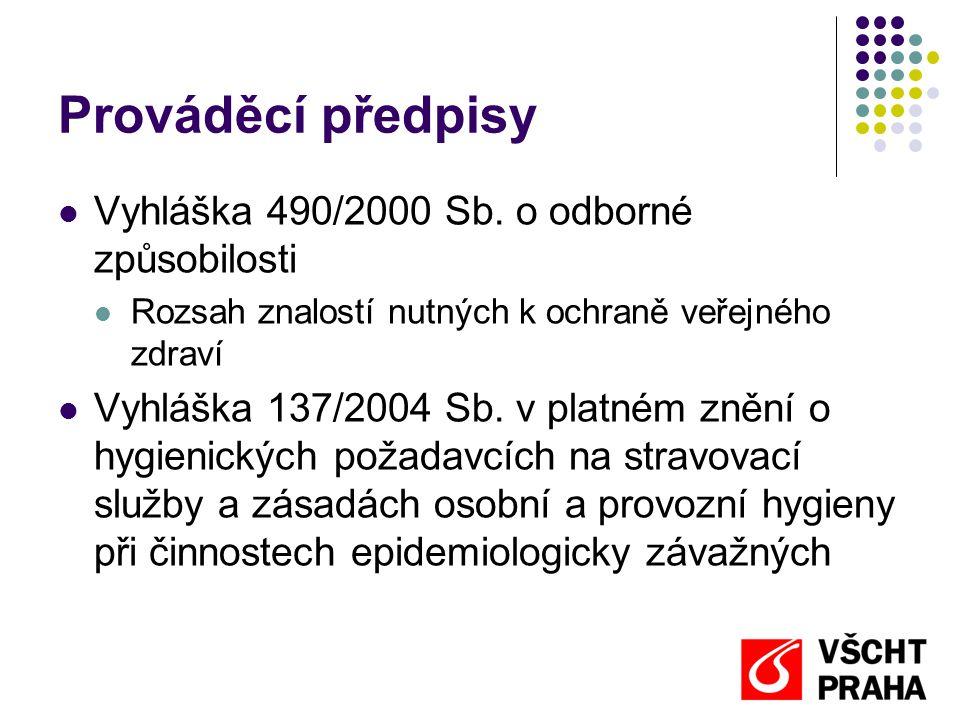 Prováděcí předpisy Vyhláška 490/2000 Sb. o odborné způsobilosti