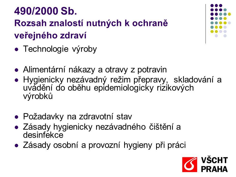 490/2000 Sb. Rozsah znalostí nutných k ochraně veřejného zdraví