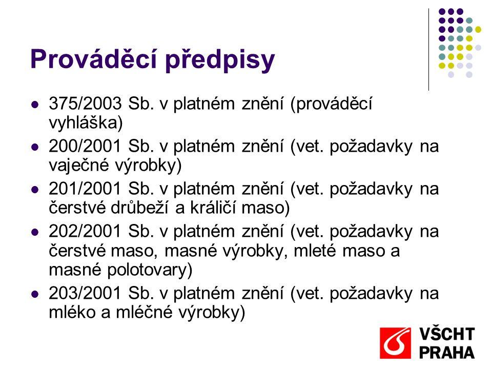 Prováděcí předpisy 375/2003 Sb. v platném znění (prováděcí vyhláška)