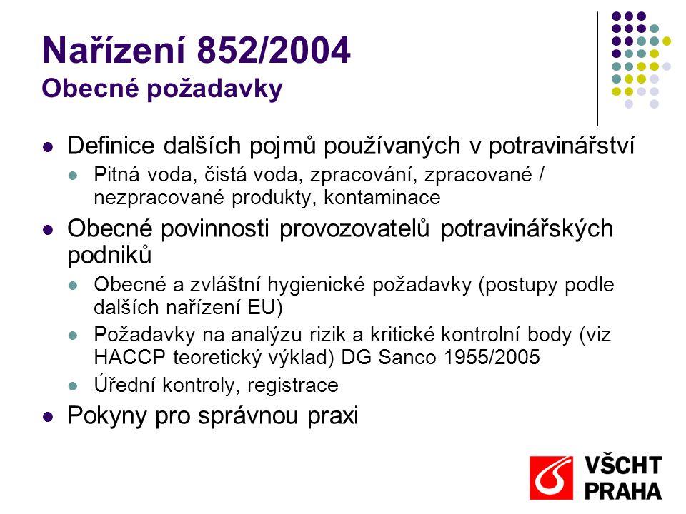 Nařízení 852/2004 Obecné požadavky