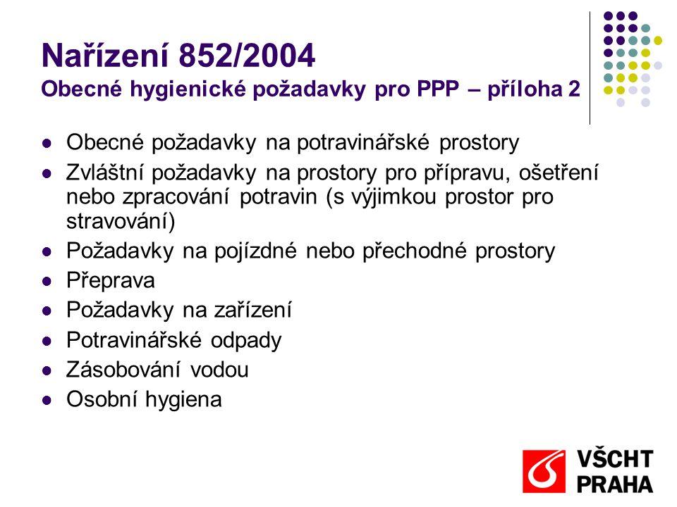 Nařízení 852/2004 Obecné hygienické požadavky pro PPP – příloha 2
