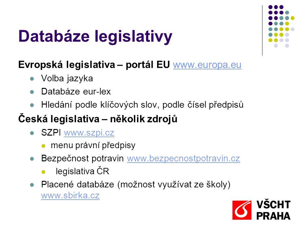 Databáze legislativy Evropská legislativa – portál EU www.europa.eu