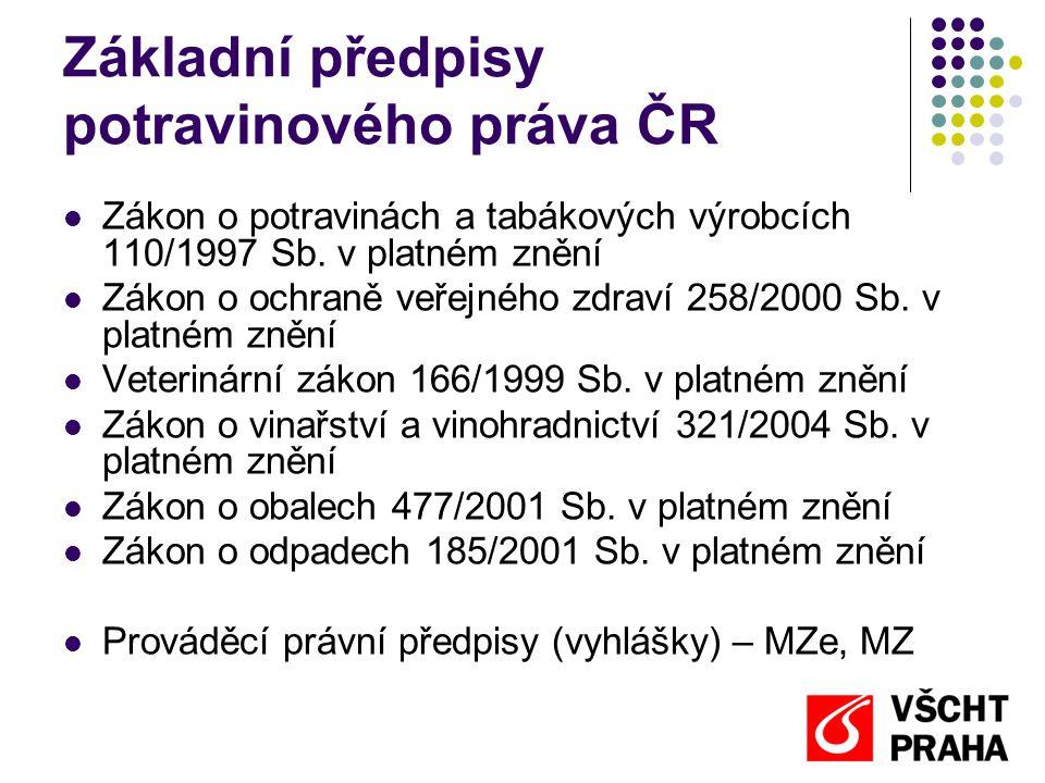 Základní předpisy potravinového práva ČR