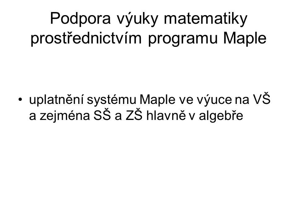 Podpora výuky matematiky prostřednictvím programu Maple