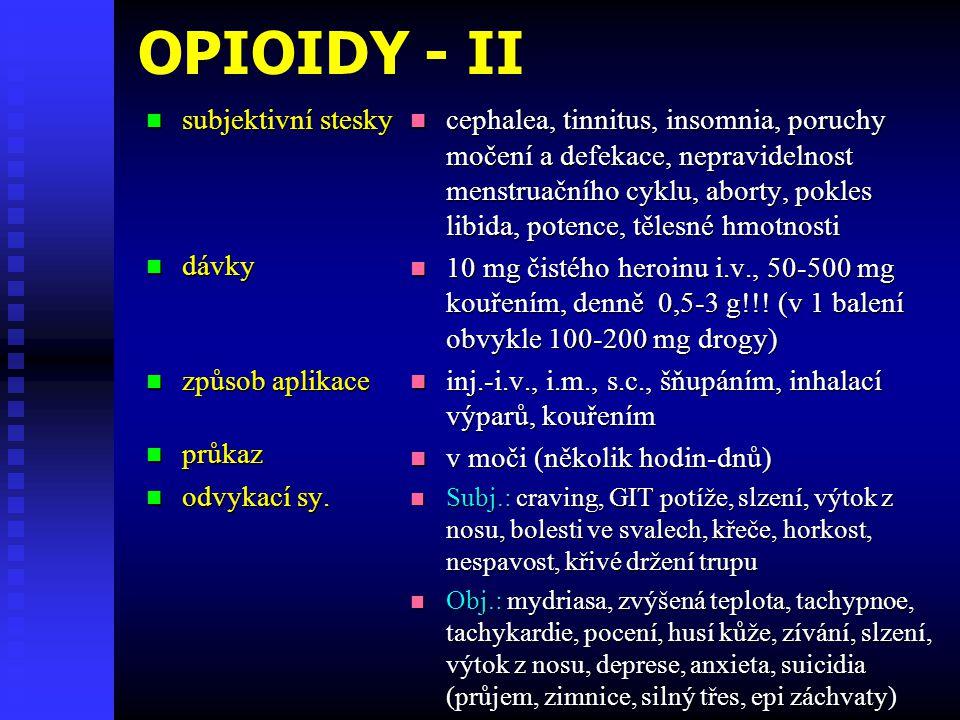 OPIOIDY - II subjektivní stesky dávky způsob aplikace průkaz