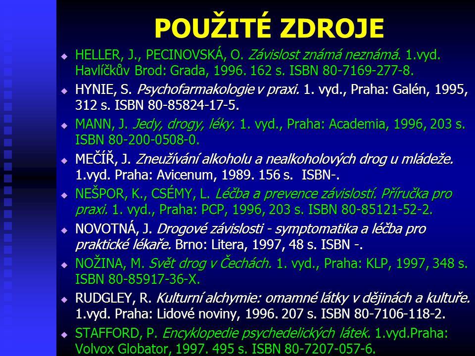 POUŽITÉ ZDROJE HELLER, J., PECINOVSKÁ, O. Závislost známá neznámá. 1.vyd. Havlíčkův Brod: Grada, 1996. 162 s. ISBN 80-7169-277-8.