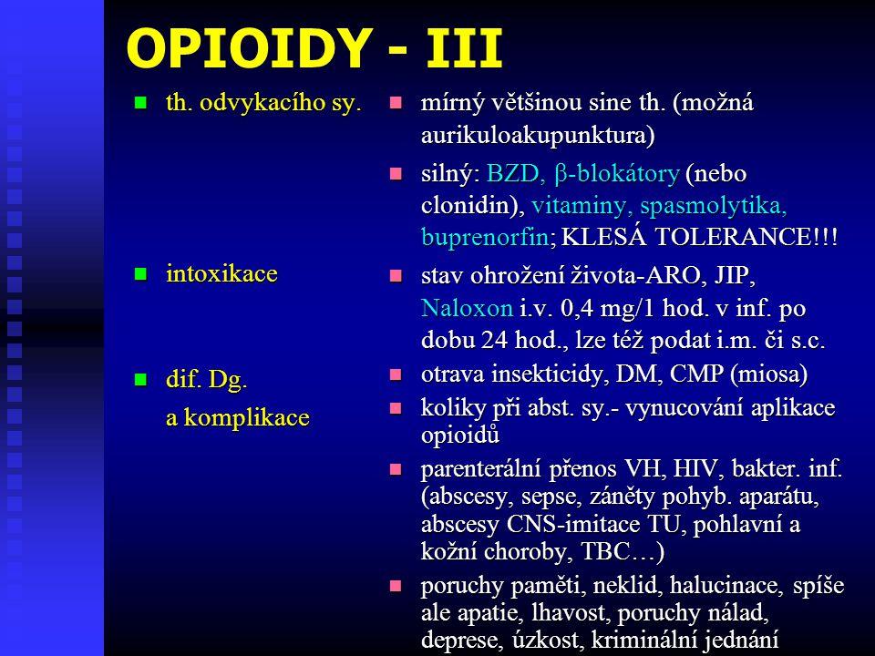 OPIOIDY - III th. odvykacího sy. intoxikace dif. Dg. a komplikace