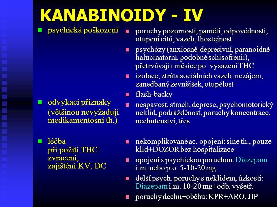 KANABINOIDY - IV psychická poškození odvykací příznaky
