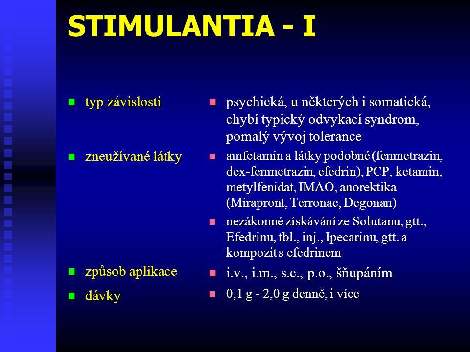 STIMULANTIA - I typ závislosti zneužívané látky způsob aplikace dávky