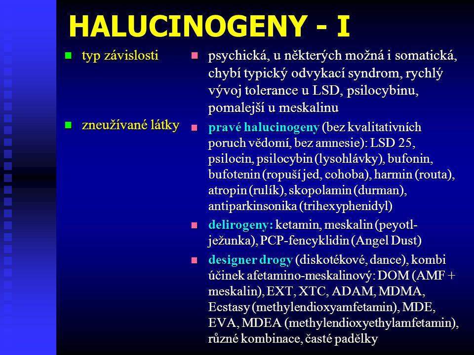 HALUCINOGENY - I typ závislosti zneužívané látky