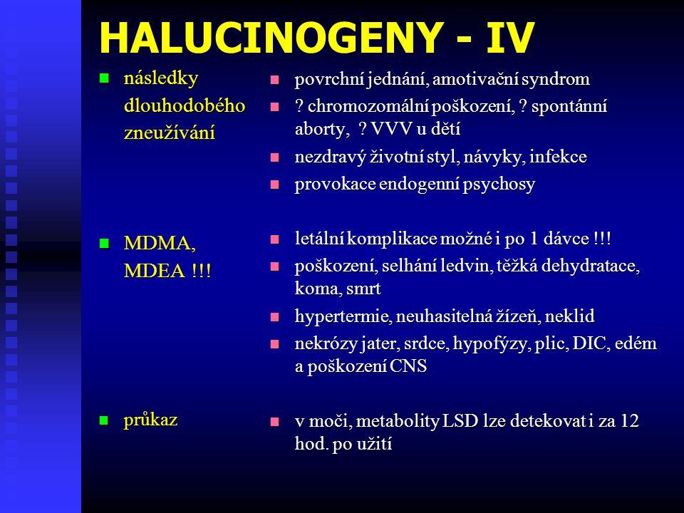 HALUCINOGENY - IV následky dlouhodobého zneužívání MDMA, MDEA !!!