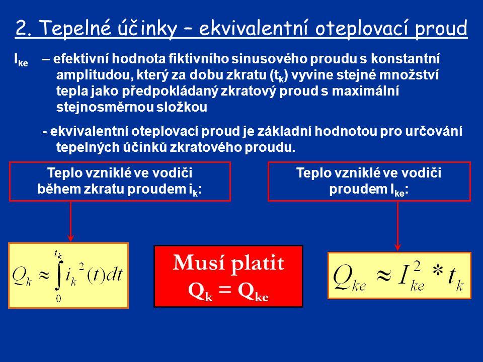 Musí platit Qk = Qke 2. Tepelné účinky – ekvivalentní oteplovací proud