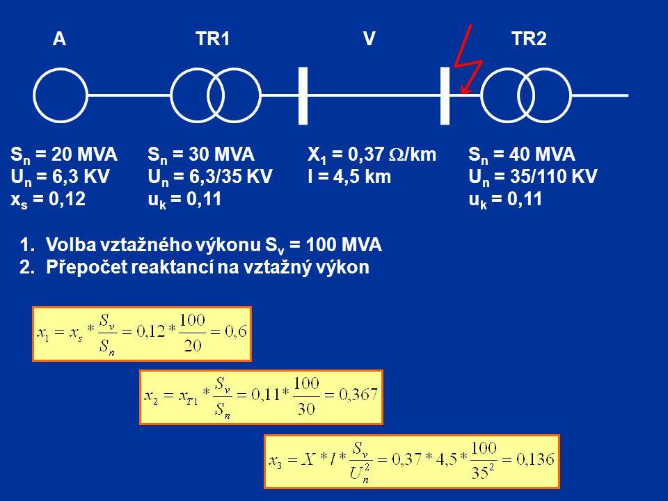 TR2 V. TR1. A. Sn = 20 MVA. Un = 6,3 KV. xs = 0,12. Sn = 30 MVA. Un = 6,3/35 KV. uk = 0,11.