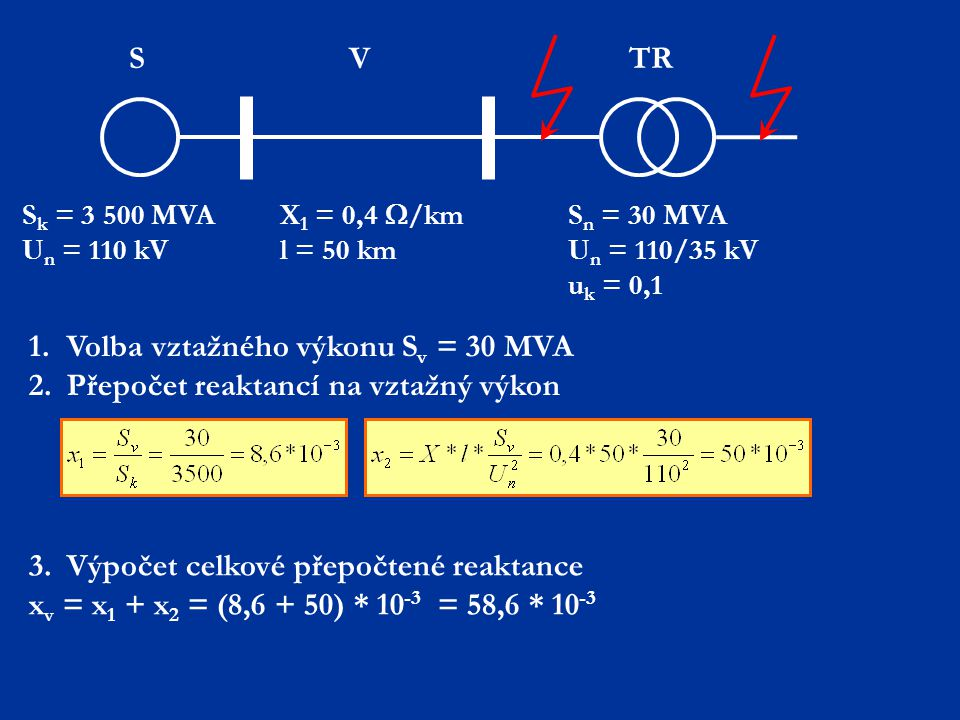 1. Volba vztažného výkonu Sv = 30 MVA