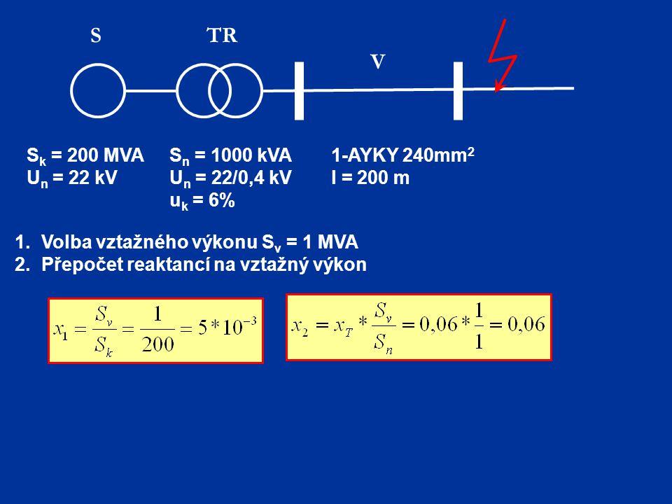 S TR V Sk = 200 MVA Un = 22 kV 1-AYKY 240mm2 l = 200 m Sn = 1000 kVA