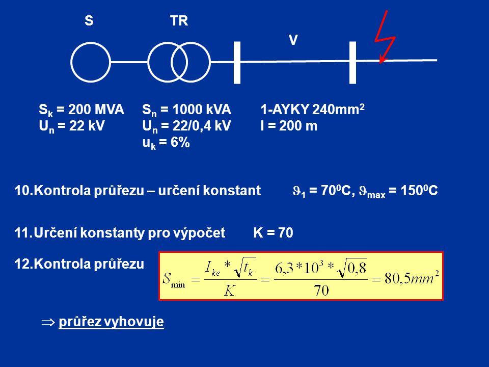 Sk = 200 MVA Un = 22 kV. 1-AYKY 240mm2. l = 200 m. Sn = 1000 kVA. Un = 22/0,4 kV. uk = 6% TR.