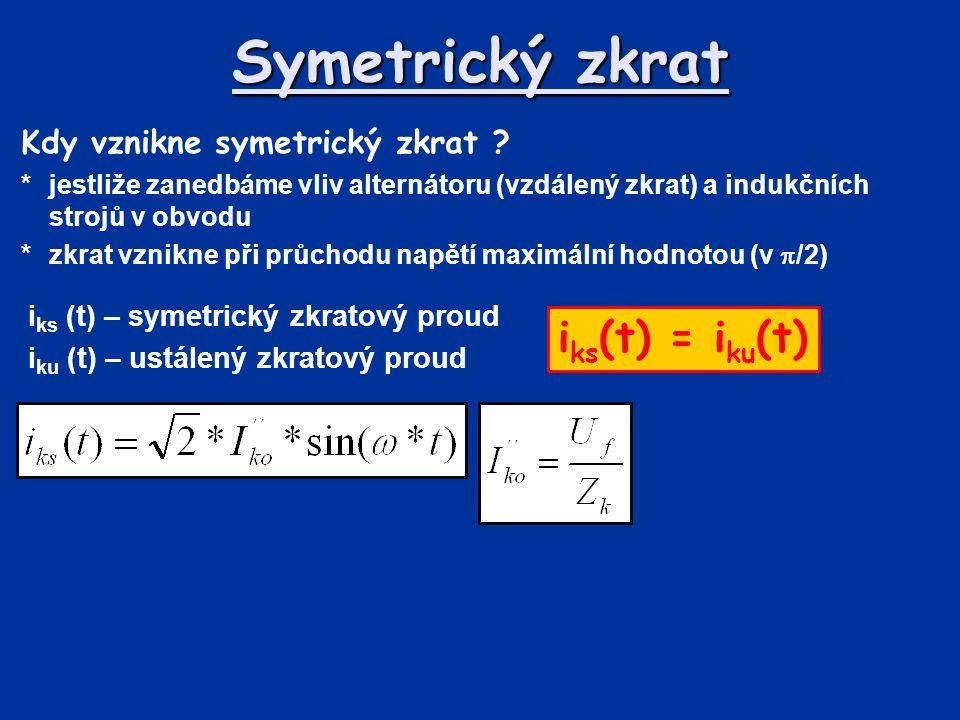 Symetrický zkrat iks(t) = iku(t) Kdy vznikne symetrický zkrat