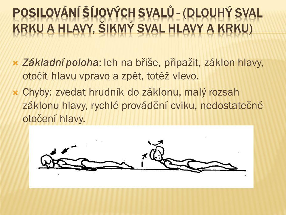 Posilování šíjových svalů - (dlouhý sval krku a hlavy, šikmý sval hlavy a krku)