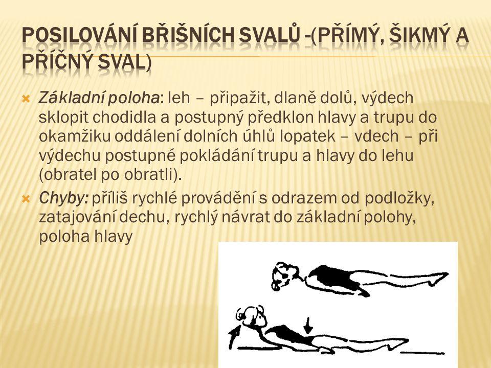 Posilování břišních svalů -(přímý, šikmý a příčný sval)