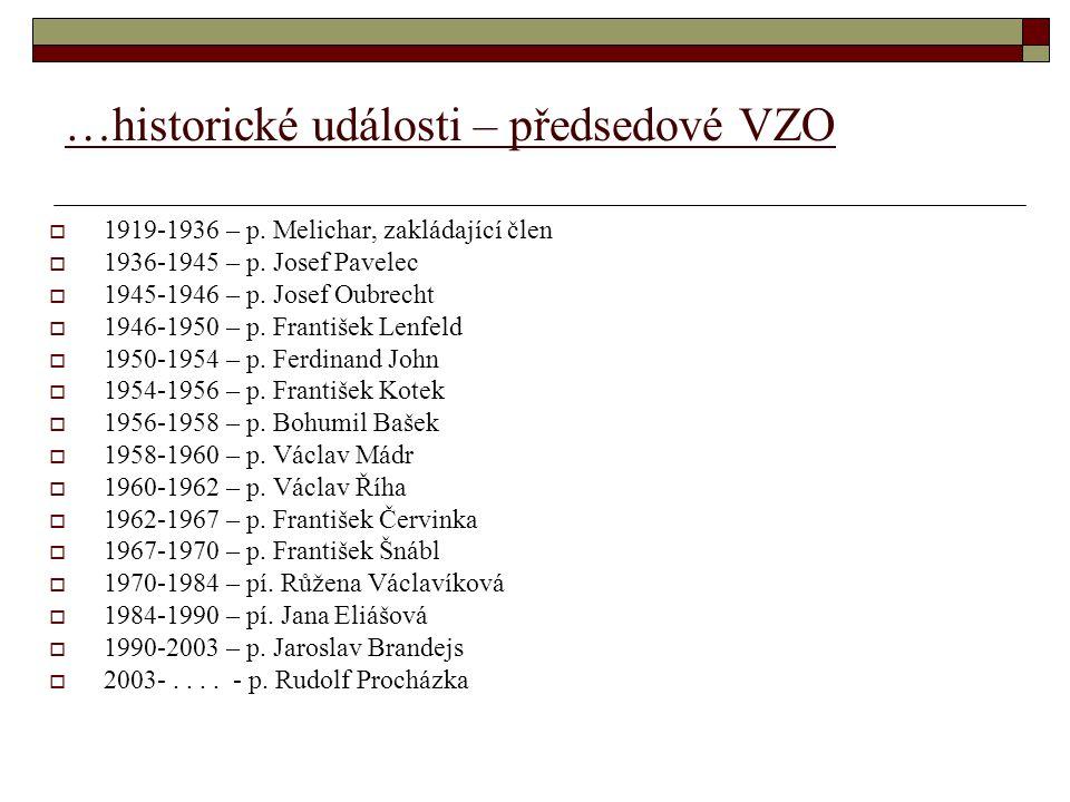 …historické události – předsedové VZO