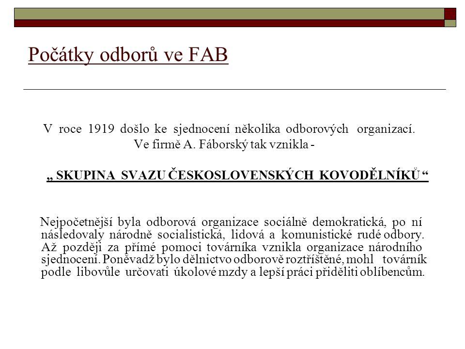 Počátky odborů ve FAB V roce 1919 došlo ke sjednocení několika odborových organizací. Ve firmě A. Fáborský tak vznikla -