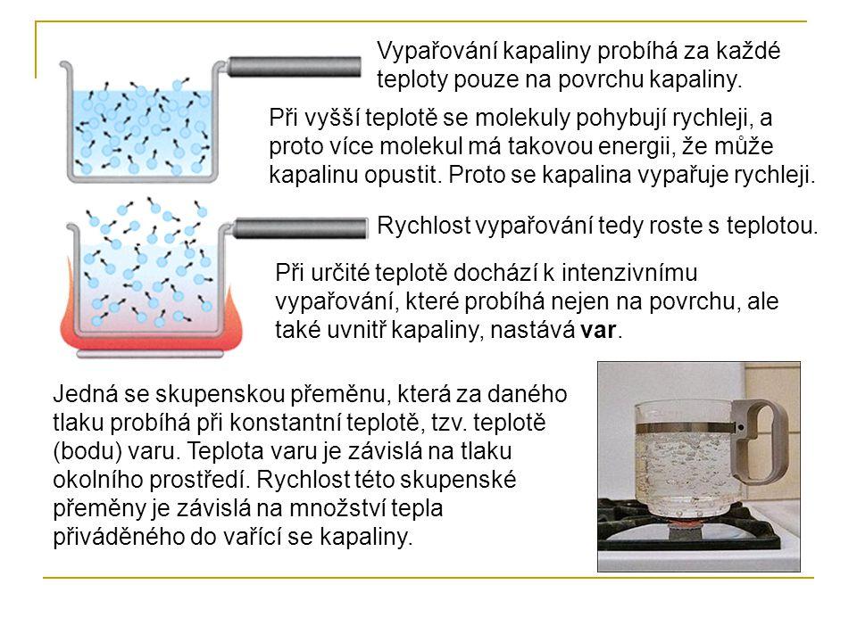 Vypařování kapaliny probíhá za každé teploty pouze na povrchu kapaliny.