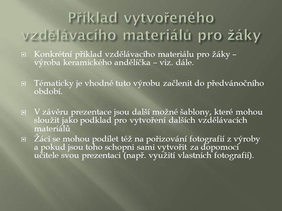 Příklad vytvořeného vzdělávacího materiálů pro žáky