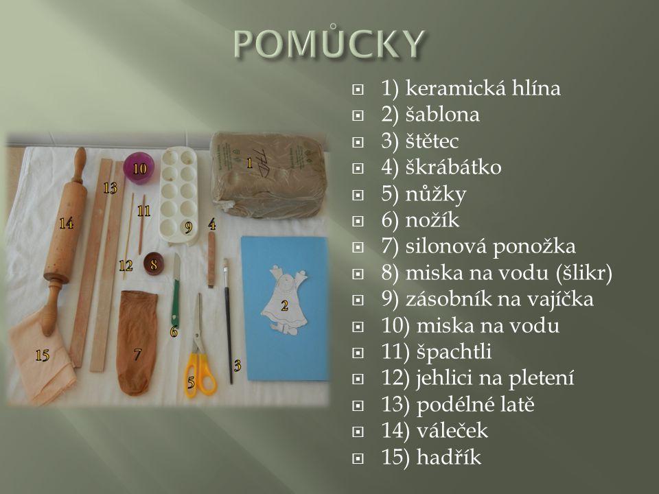 POMŮCKY 1) keramická hlína 2) šablona 3) štětec 4) škrábátko 5) nůžky