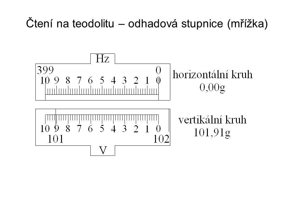 Čtení na teodolitu – odhadová stupnice (mřížka)
