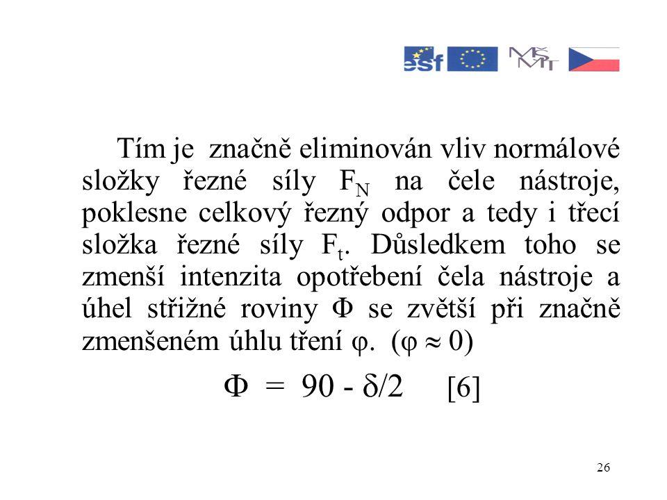 Tím je značně eliminován vliv normálové složky řezné síly FN na čele nástroje, poklesne celkový řezný odpor a tedy i třecí složka řezné síly Ft. Důsledkem toho se zmenší intenzita opotřebení čela nástroje a úhel střižné roviny Φ se zvětší při značně zmenšeném úhlu tření φ. (φ  0)