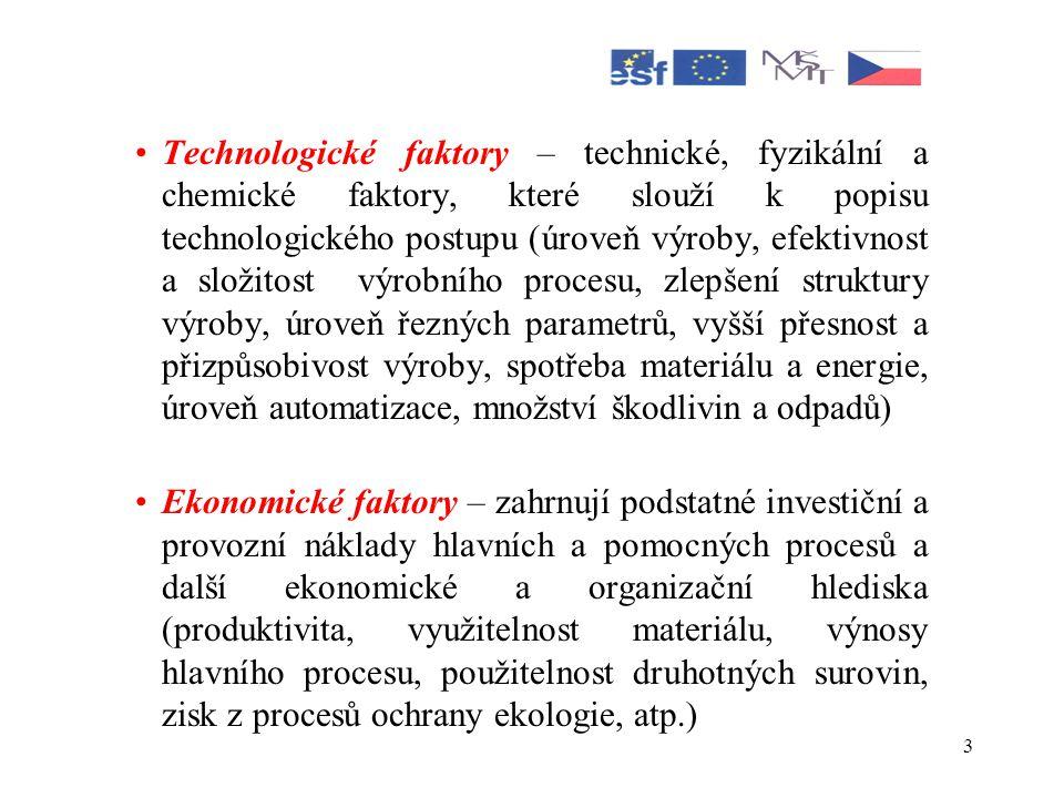 Technologické faktory – technické, fyzikální a chemické faktory, které slouží k popisu technologického postupu (úroveň výroby, efektivnost a složitost výrobního procesu, zlepšení struktury výroby, úroveň řezných parametrů, vyšší přesnost a přizpůsobivost výroby, spotřeba materiálu a energie, úroveň automatizace, množství škodlivin a odpadů)