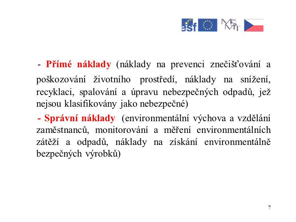 - Přímé náklady (náklady na prevenci znečišťování a poškozování životního prostředí, náklady na snížení, recyklaci, spalování a úpravu nebezpečných odpadů, jež nejsou klasifikovány jako nebezpečné)
