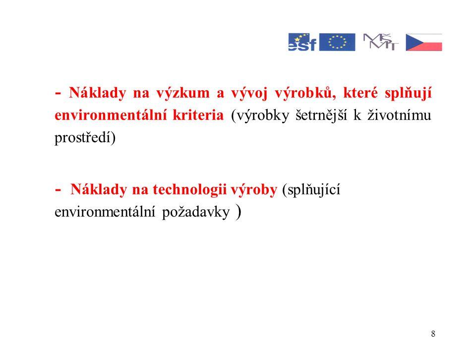 - Náklady na výzkum a vývoj výrobků, které splňují environmentální kriteria (výrobky šetrnější k životnímu prostředí)