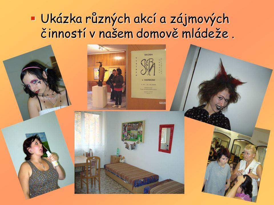 Ukázka různých akcí a zájmových činností v našem domově mládeže .