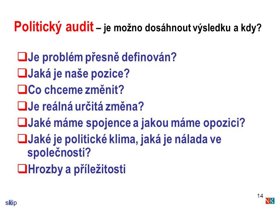 Politický audit – je možno dosáhnout výsledku a kdy