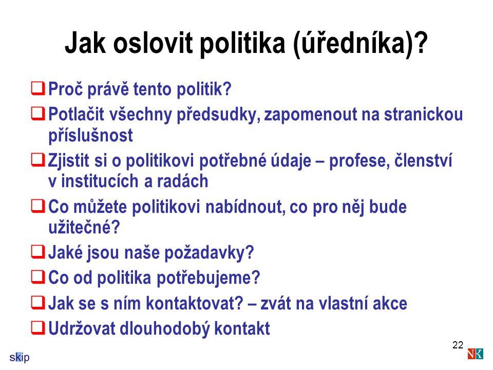 Jak oslovit politika (úředníka)