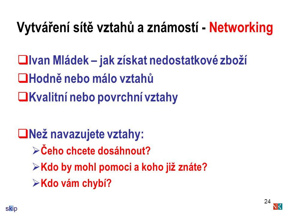 Vytváření sítě vztahů a známostí - Networking