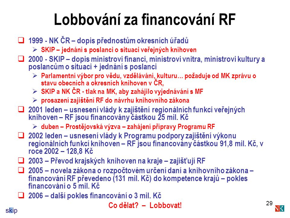 Lobbování za financování RF