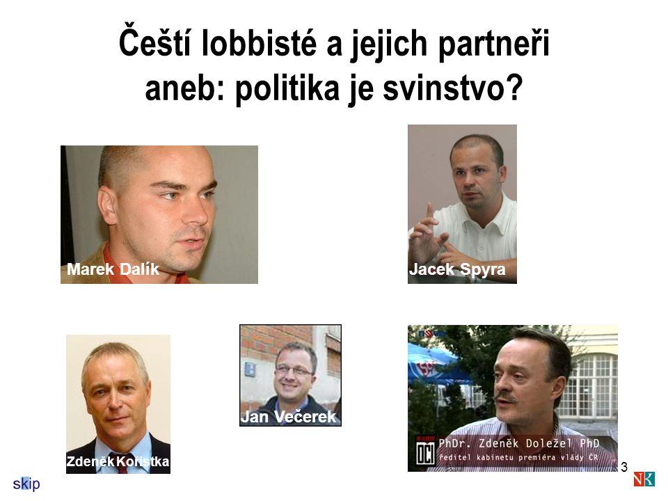 Čeští lobbisté a jejich partneři aneb: politika je svinstvo