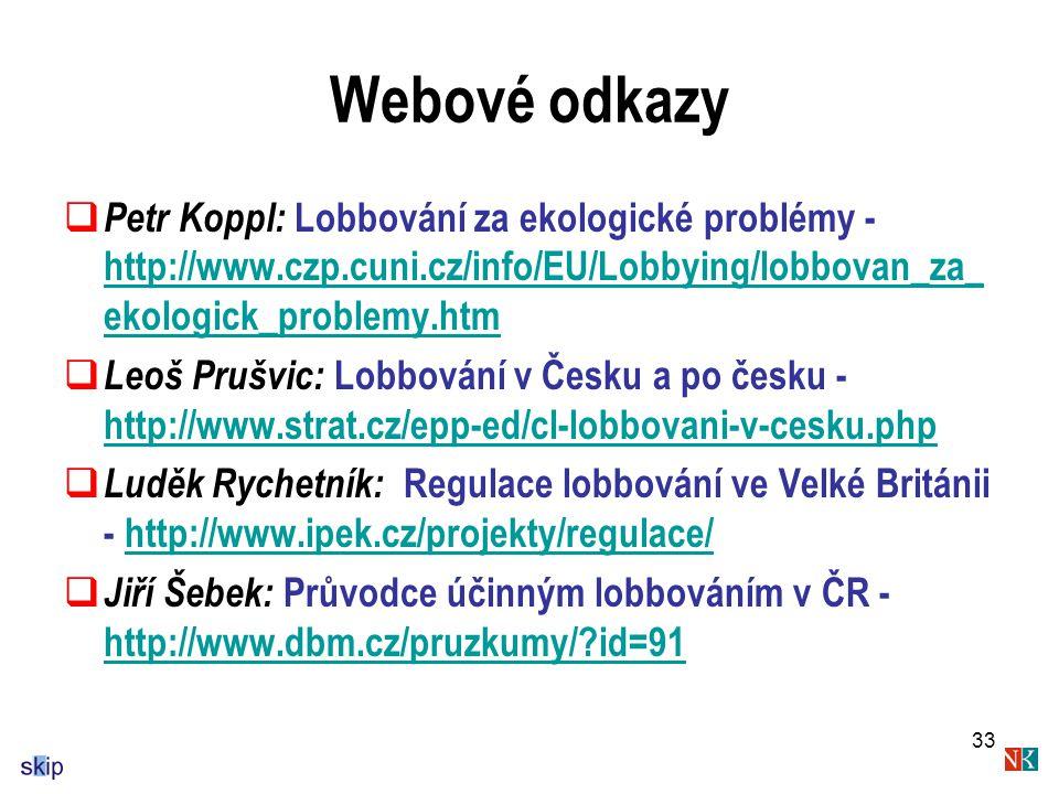 Webové odkazy Petr Koppl: Lobbování za ekologické problémy - http://www.czp.cuni.cz/info/EU/Lobbying/lobbovan_za_ekologick_problemy.htm.