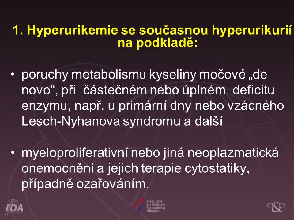 1. Hyperurikemie se současnou hyperurikurií na podkladě: