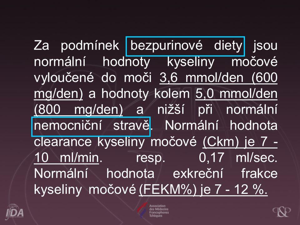 Za podmínek bezpurinové diety jsou normální hodnoty kyseliny močové vyloučené do moči 3,6 mmol/den (600 mg/den) a hodnoty kolem 5,0 mmol/den (800 mg/den) a nižší při normální nemocniční stravě.
