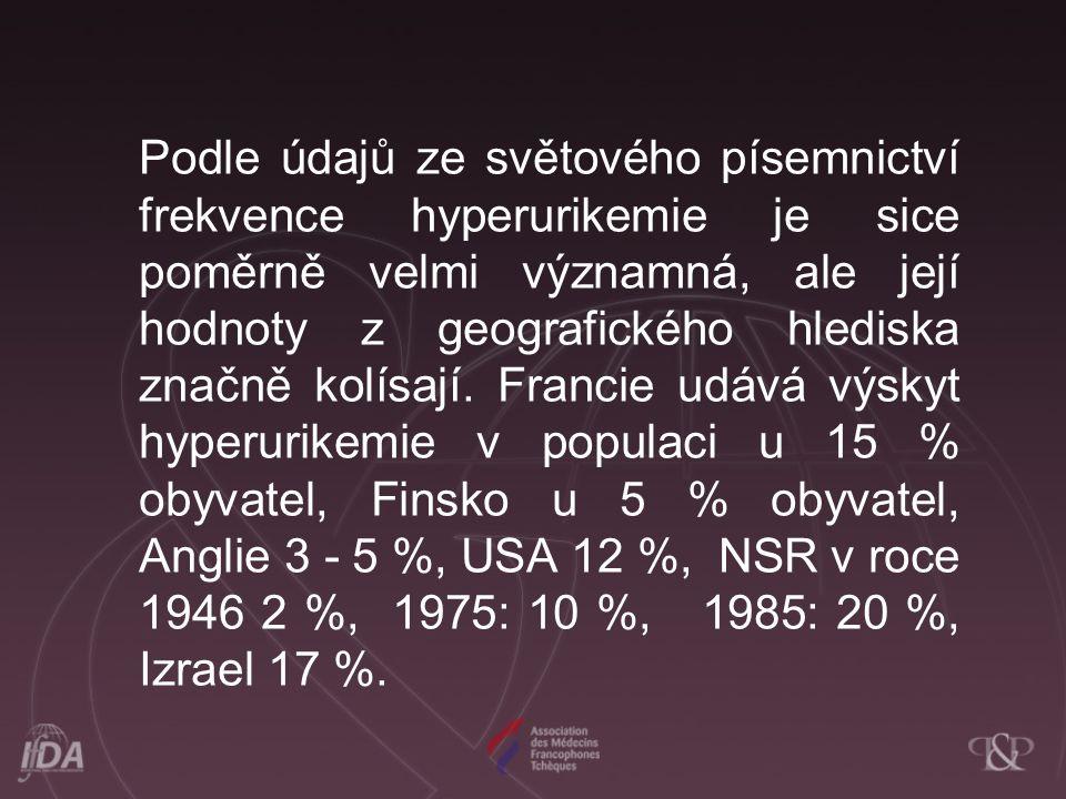 Podle údajů ze světového písemnictví frekvence hyperurikemie je sice poměrně velmi významná, ale její hodnoty z geografického hlediska značně kolísají.